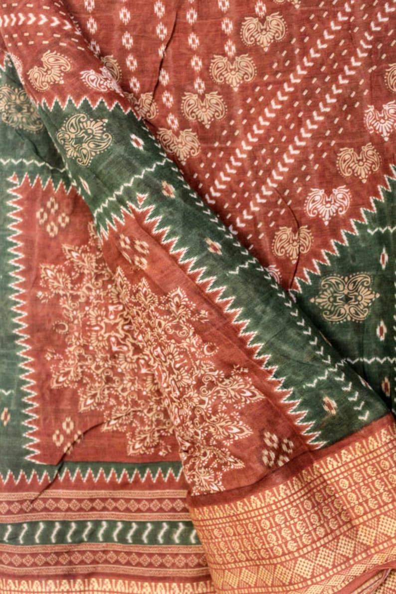 Vintage Saree 100/% Pure Cotton Fabric Saree 5YD Green and Brown Sari Antique Sarong Wrap Traditional PCS3143