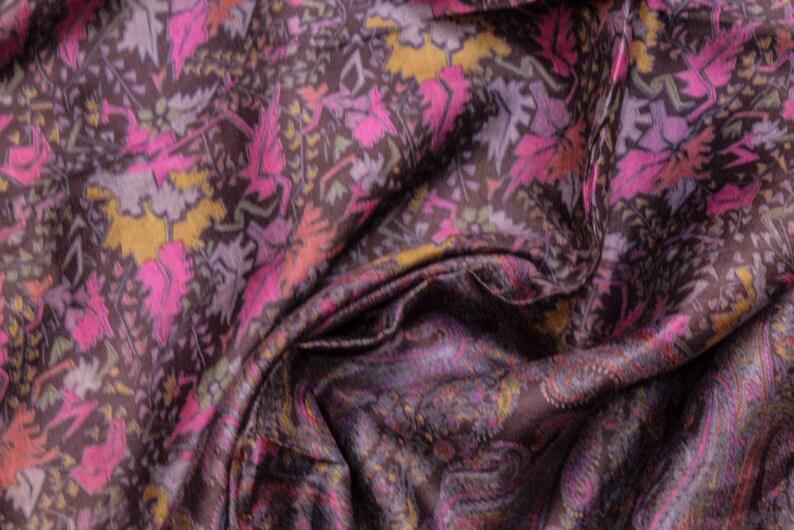 Vintage Indian Pure Silk Saree Traditional Textile Recycle Floral Printed Sari Ethnic Long Curtain Decor Sarong Craft Fabric PSS11535