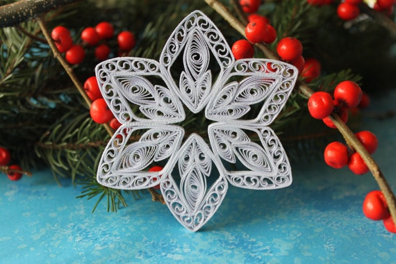 Items similar to ASPEN snowflake - Paper quilled ornament ...