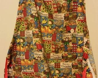 Apron autumn harvest give thanks  country pumpkins sunflowers  design fabric   handmade