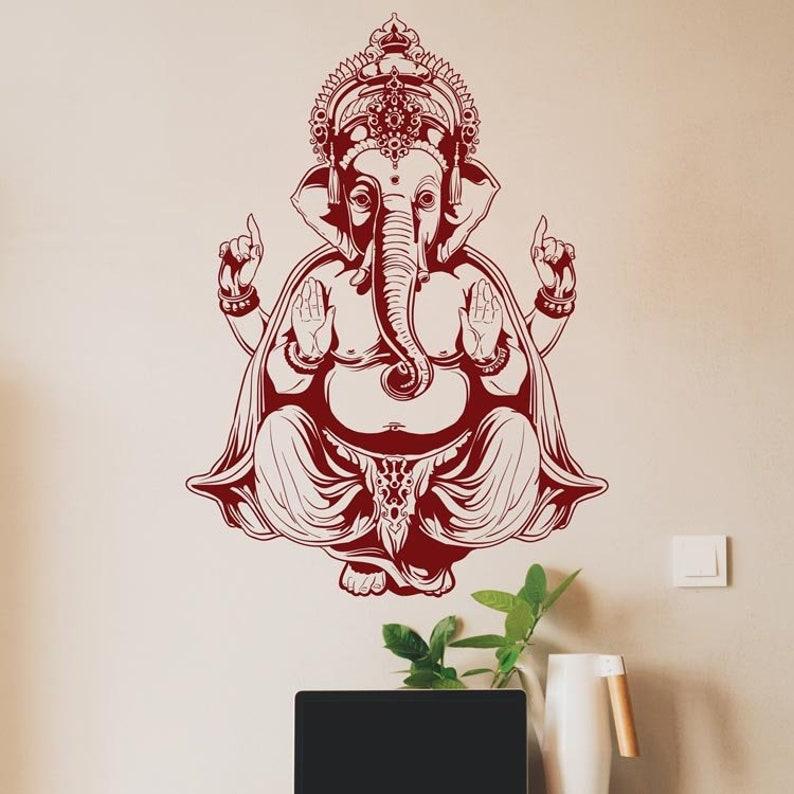 Ganapati, Ganesh Sticker Elephant Decor Ganesha Wall Art Ganesh Statue Elephant Wall Decal Buddhist Art Ganesh Wall Decal