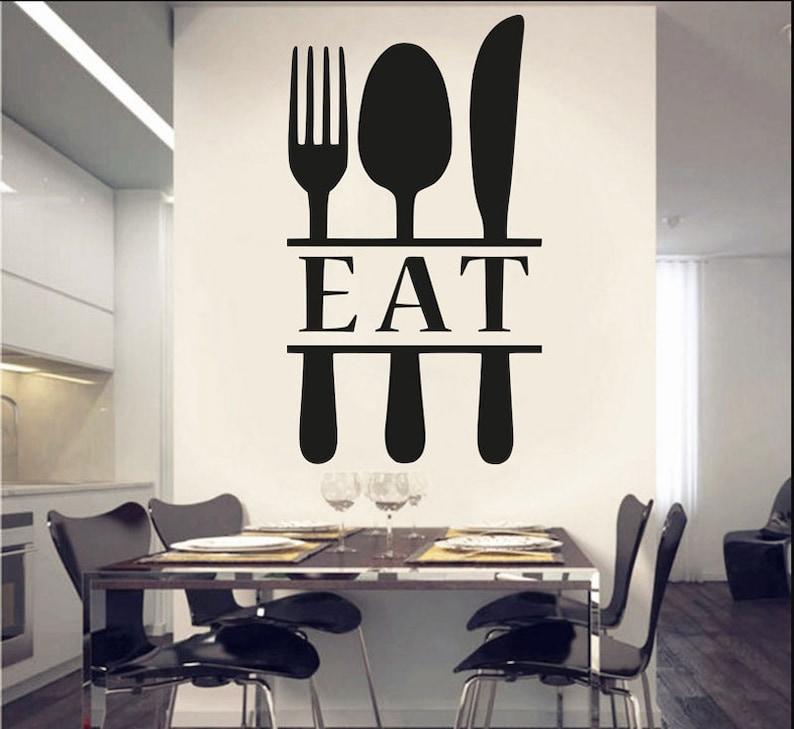 kitchen decor wall kitchen decals spoon fork wall decor fork | etsy