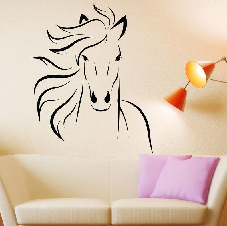 horse decal mustang horse animal vinyl wall decal art sticker | etsy