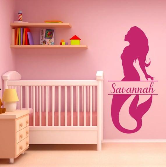 mermaid wall decal girl nursery decor nursery name sign | etsy