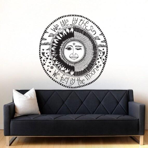 Crescent Sun And Moon Boho Wall Decal Art Decor Sticker Vinyl | Etsy