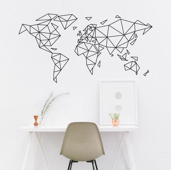 World Map Wall Art World Map Decal World Map Wall Decal Etsy