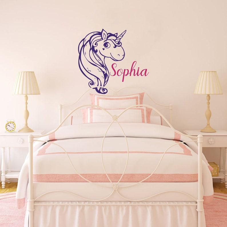 unicorn wall decal unicorn name decal girls room decor | etsy