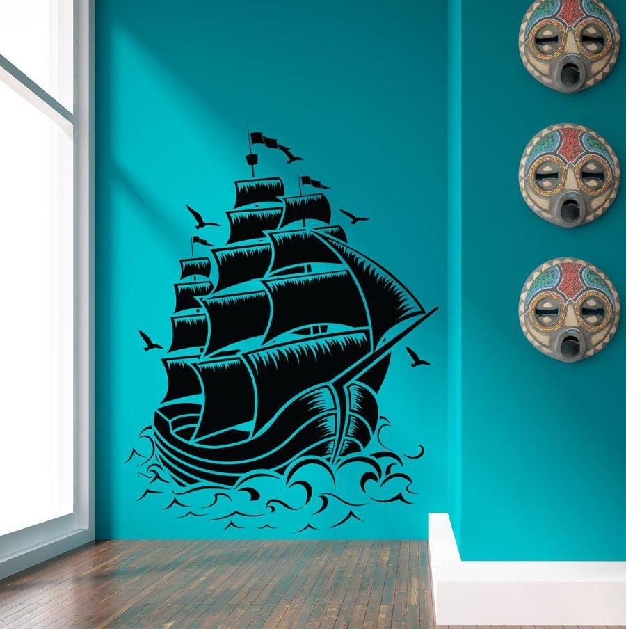 Pirate Ship Decal Pirate Ship Wall Art Pirate Ship Decor Etsy