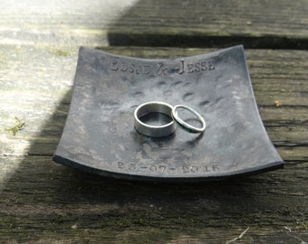 e428b6df810e 11th anniversary gift - steel anniversary gift - wedding ring dish - 11th steel  anniversary - steel gift for him -gift for her -personalized