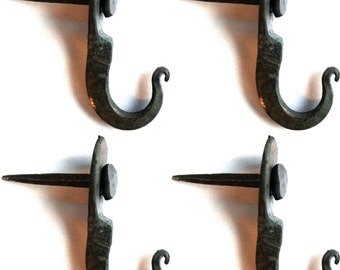 Hooks (4) forged, handmade - small hammered iron steel metal hooks with nails - wrought fixtures for home, bathroom, kitchen