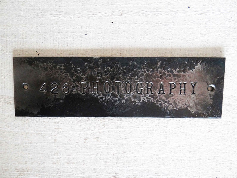 42d34ac85fb34 Custom text sign, forged - rustic name plate - metal hammered plaque - iron  office door sign - personalized text plate - steel name sign