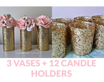 gold wedding centerpiece, candle holders, candles handmade, wedding vases, centerpiece for table, baby shower centerpiece, flower vases