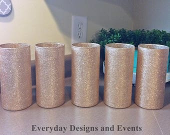 5 Champagne Gold Vases, wedding centerpieces, Baby Shower Decor, Bridal Shower Centerpieces, Baby Shower Decorations, Wedding Decor