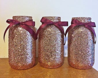 Set of 3 Rose gold and burgundy mason jar centerpiece, mason jars, wedding centerpiece, rose gold decor wedding decorations, burgundy gold