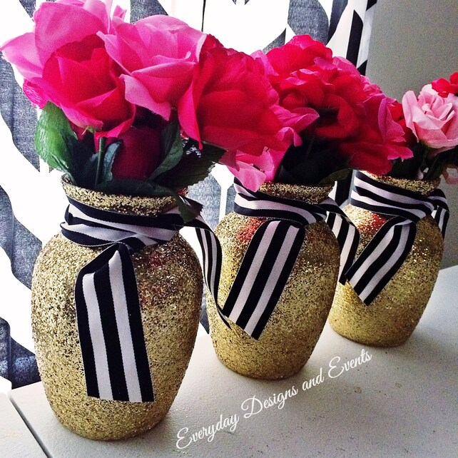 Set Of 4 Gold Black And White Vases Wedding Centerpiece Baby Shower