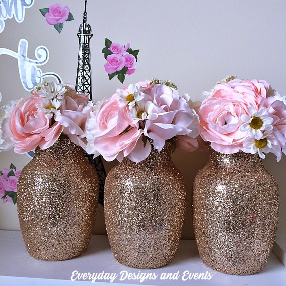 Set Of 3 Blush Champagne Vases Baby Shower Centerpiece Gold Etsy