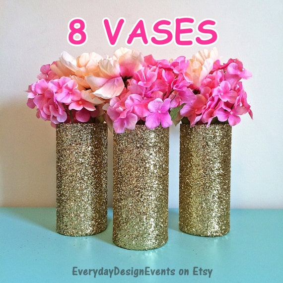 8 Gold Vases Gold Decorations Wedding Centerpiece Baby
