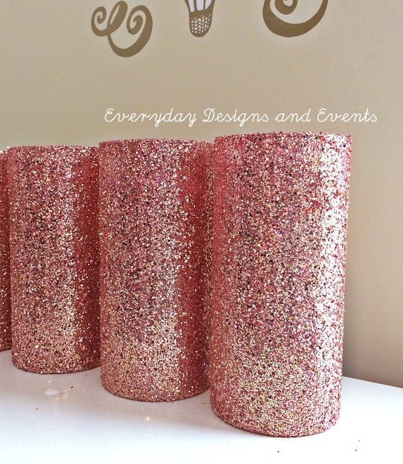 3 Rose Gold Glitter Vases Rose Gold Centerpiece Wedding Etsy