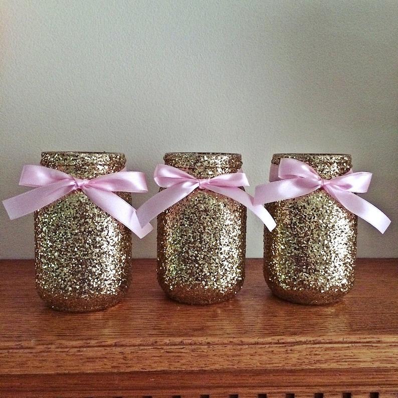 24 Mason Jar Centerpiece Decor Gold Mason Jar Centerpiece Etsy