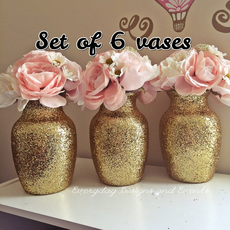 Admirable Gold Vase Gold Centerpiece Wedding Centerpieces For Tables Baby Shower Decoration 50Th Anniversary Graduation Wedding Decor Set Of 6 Home Interior And Landscaping Ologienasavecom