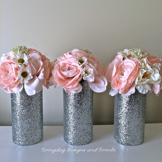 3 Silver Wedding Centerpieces Wedding Decorations Silver Etsy