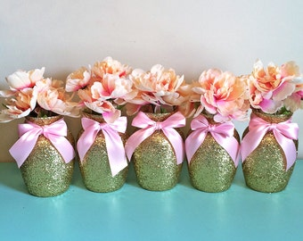 5 Gold & Pink Vases, Baby shower Decorations, Baby shower centerpiece, birthday, Wedding Decorations, first birthday, centerpieces, wedding