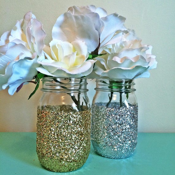 Mason Jar Centerpiece Decor Gold Mason Jar Centerpiece Wedding Etsy