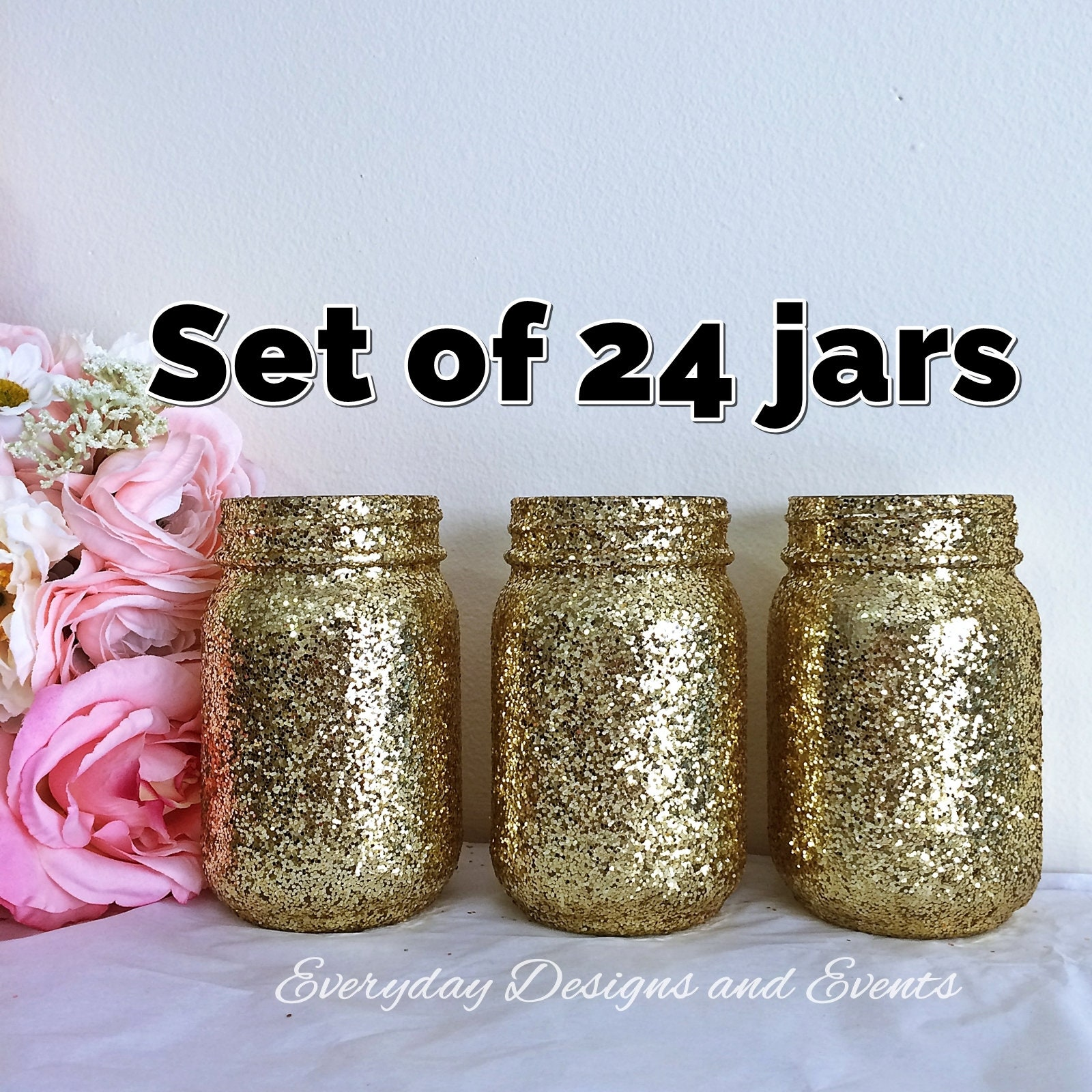 Bulk Mason Jars Gold Mason Jars Centerpieces Baby Shower Decorations Baby Shower Centerpiece Wedding Decor Center Pieces For Table