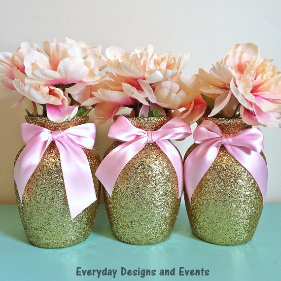 3 Pink And Gold Baby Shower Vases Pink And Gold First Etsy