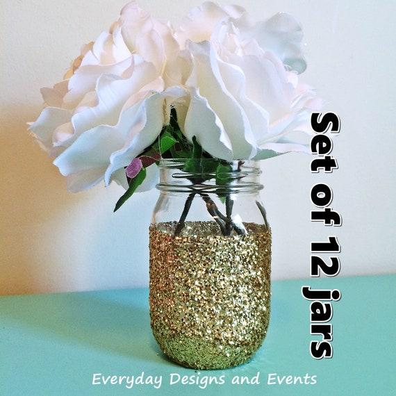 Gold Glitter Mason Jar Centerpiece Decor Gold Mason Jar Etsy