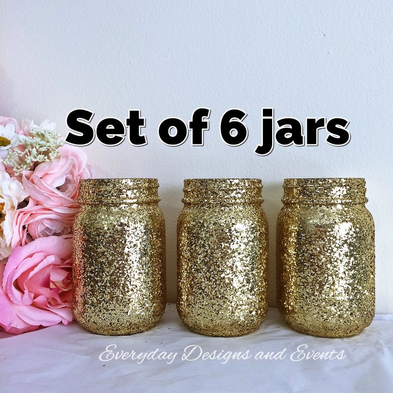 Mason Jar Centerpiece Decor Gold Mason Jar Centerpiece Wedding Etsy