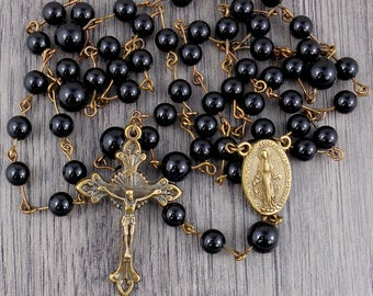 Onyx Rosary in Bronze with Miraculous Medal centrepiece
