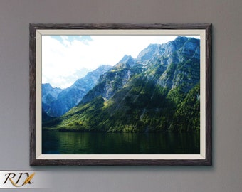 Sown Covered Lake Mountains Miniature Dollhouse Picture