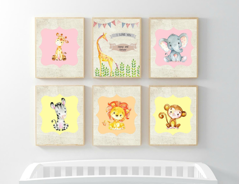 Set of 6 Nursery Digital Print Cute Animal print Wall Art | Etsy