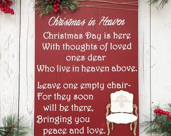 image regarding Christmas in Heaven Poem Printable named Vacant chair poem Etsy