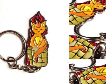 "Fire Isis Wick Kitty -  2"" Enamel Keychain - Madtech Manipulations Line"