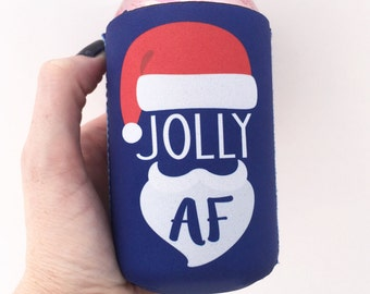 Jolly AF Santa Christmas/Holiday Beverage Insulator/Hugger