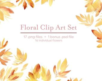 Autumn Floral Clip Art Set, Watercolor Blog Design Resource PNG PSD
