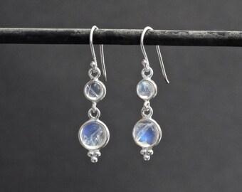 Rainbow Moonstone Earrings, Silver and Moonstone Earrings, Rainbow Moonstone Drops, Sterling Silver Earrings, June Birthstone Earrings