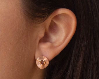 Rose Gold Earrings, Pink Gold Studs, Brushed Rose Gold, Circle Stud Earrings, Minimalist Earrings, Rose Gold Vermeil