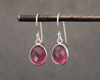 Gemstone Earrings, Pink Quartz Earrings, Silver Drop Earrings, Bright Pink Earrings, Sterling Silver