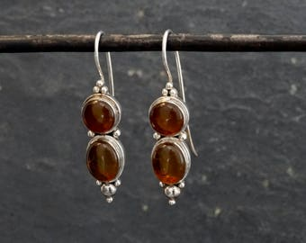 Amber and Silver Drop Earrings, Amber Earrings, Amber Drops, Gemstone Earrings, Dangle Earrings, Sterling Silver 925