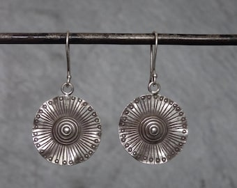 Silver Drop Earrings, Silver Flower Earrings, Hill Tribe Earrings, Nature Jewellery, Lily Pad Earrings, Sterling Silver