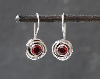 Garnet Earrings Twig Earrings Birthday Gift Gift for Her Sterling Silver Dangle Earrings January Birthday