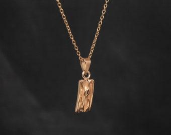 Textured Rose Gold Pendant Rose Gold Vermeil Rose Gold Pendant Necklace Geometric Pink Gold Pendant
