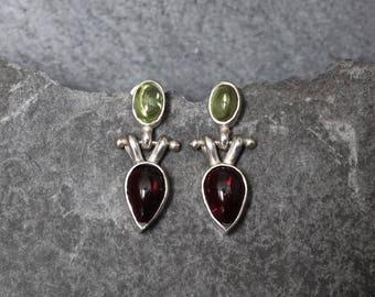 Garnet Earrings, Peridot Earrings, Silver Drop Earrings, Simple Earrings, Hinge Earrings, Sterling Silver, Garnet and Peridot Earrings