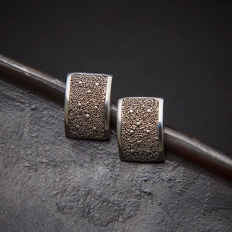 7dffbcc18 Silver Stud Earrings Modern Earrings Silver Granulation | Etsy