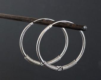 Silver Hoops, Silver Hoop Earrings, Detailed Hoops, Large Hoops, Unusual Hoops, Bali Hoops, Sterling Silver, 925