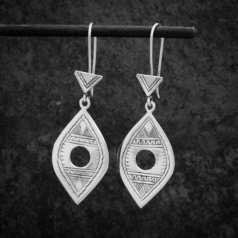 738e472c4 Silver Drop Earrings Tuareg Earrings Ethnic Earrings Boho | Etsy