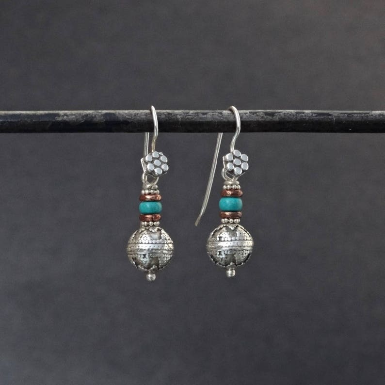 e022e41a9 Silver Drop Earrings Turquoise and Silver Earrings December | Etsy